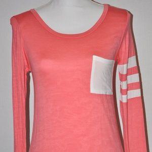 Vanilla Bay Coral Pink Tunic with Pocket Stripes